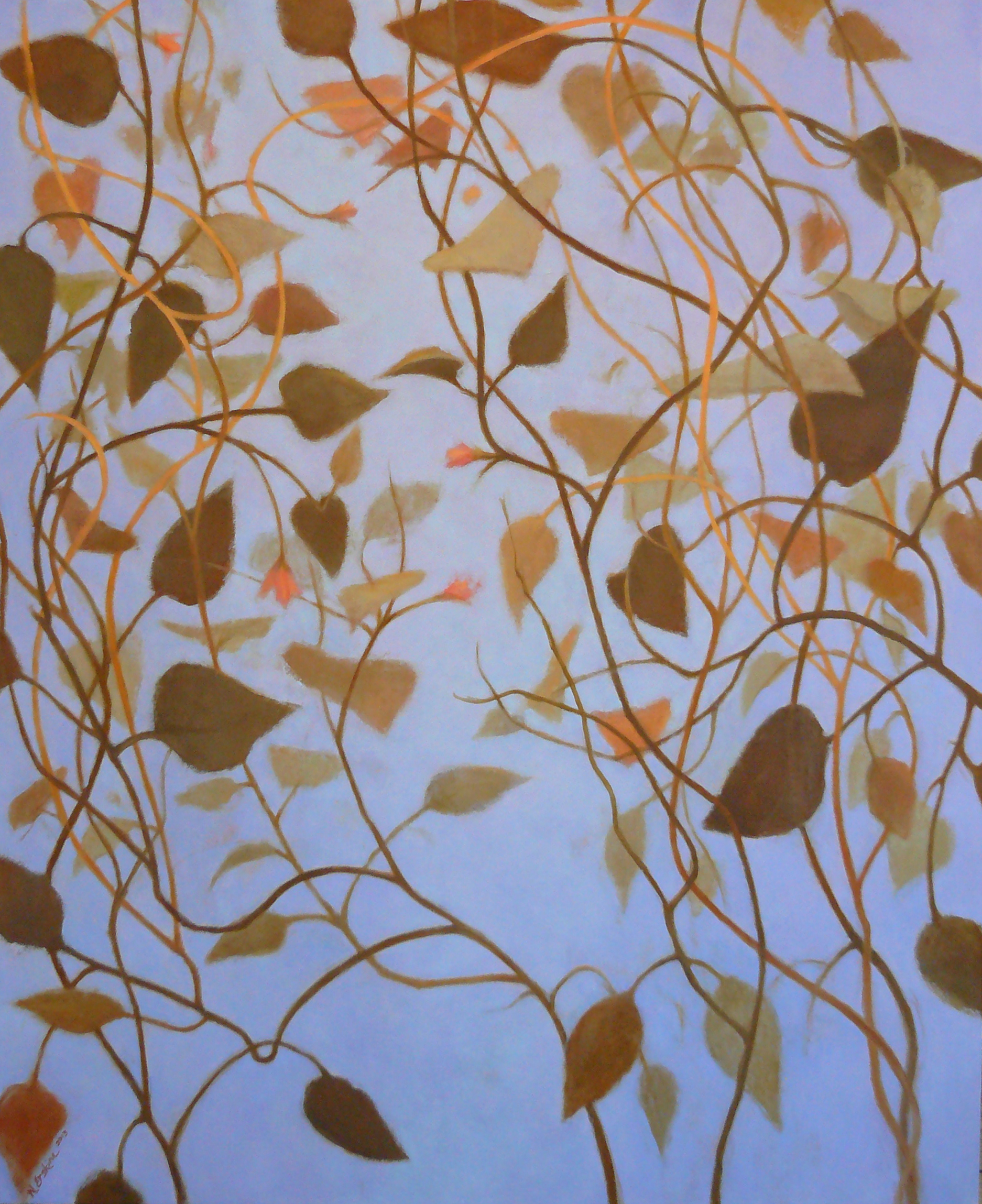 brown and tan vines on a blue background
