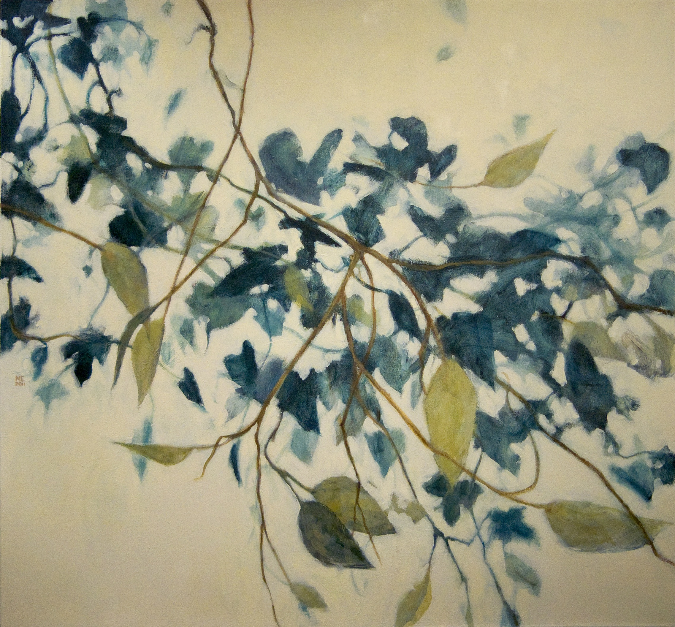 oil painting of blue and green cascading vines by Nanci Erskine