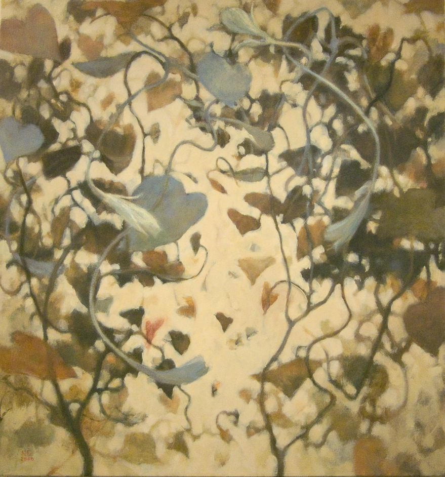 painting of brown tangled vines in circular pattern by Nanci Erskine