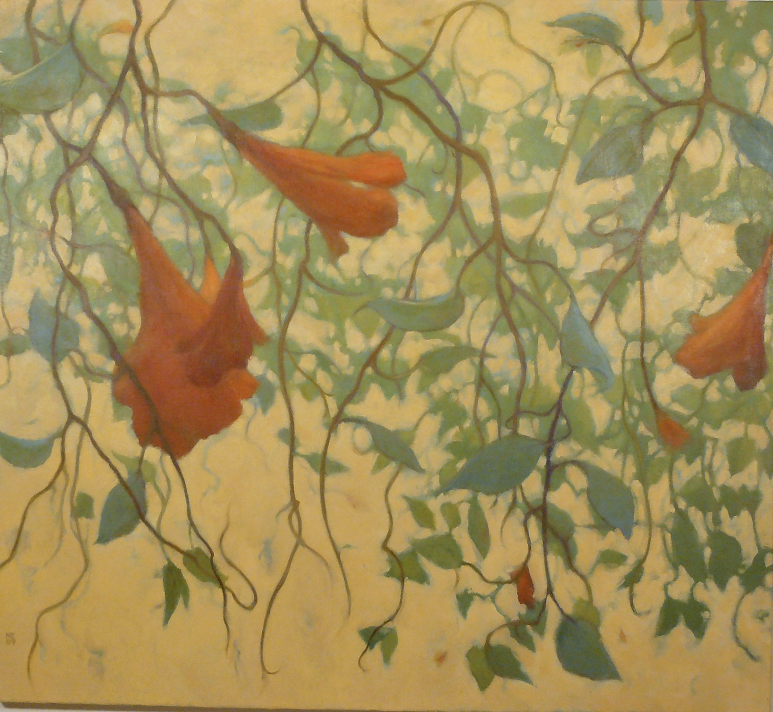 oil painting of hanging green vines with orange flowers on cream background by Nanci Erskine