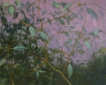 oil painting of vines and purple background by Nanci Erskine