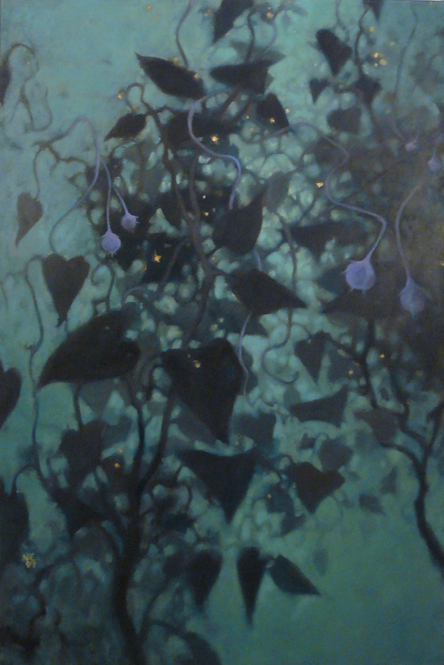 oil painting floating blue vines in a watery environment by Nanci Erskine