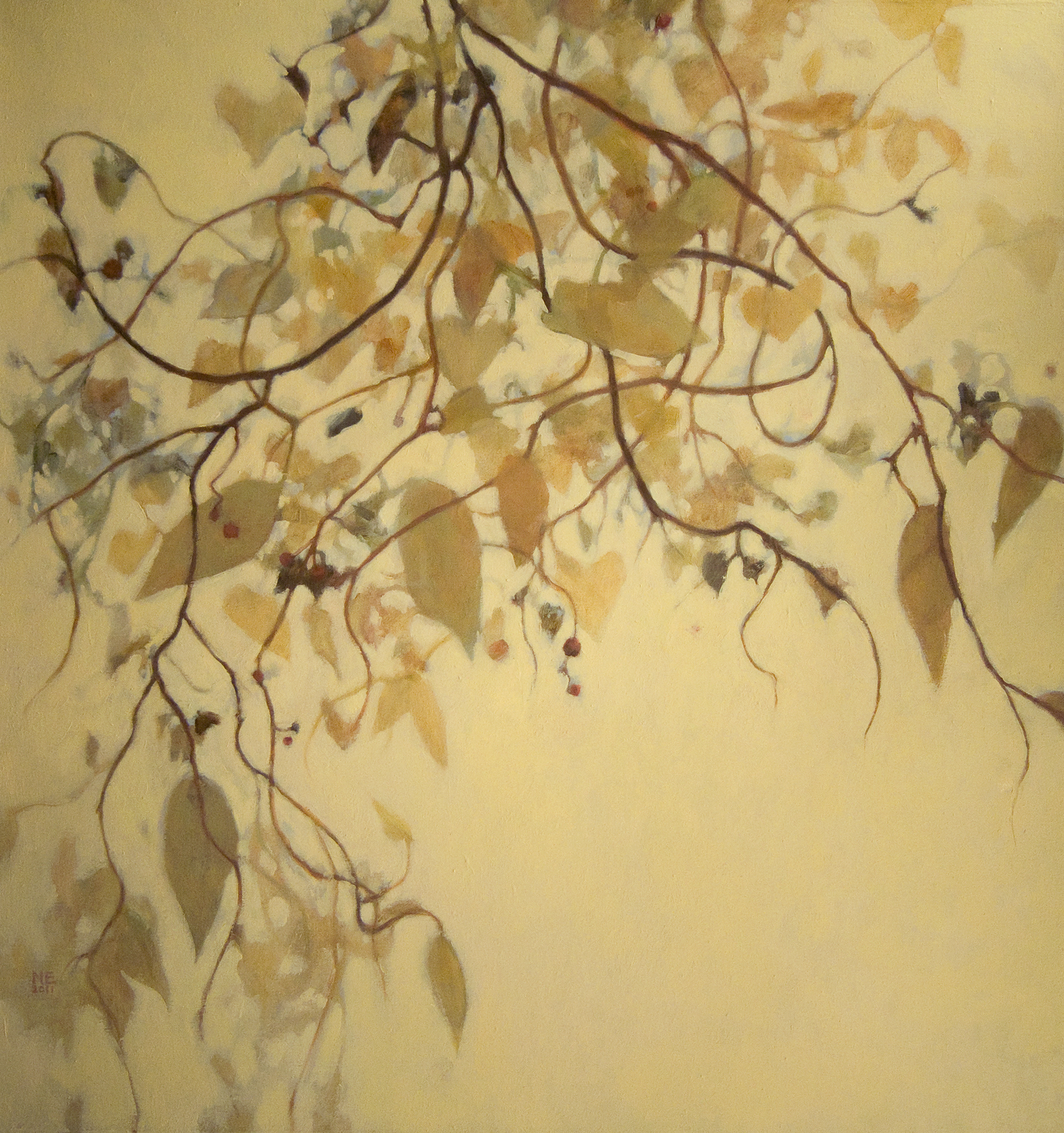 oil painting of flowing tan and brown vines with red accents by Nanci Erskine