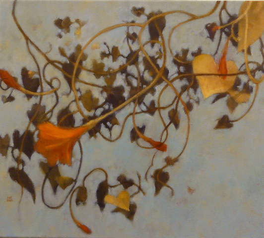 oil painting with brown vines on lt blue background with orange and sienna accents by Nanci Erskine