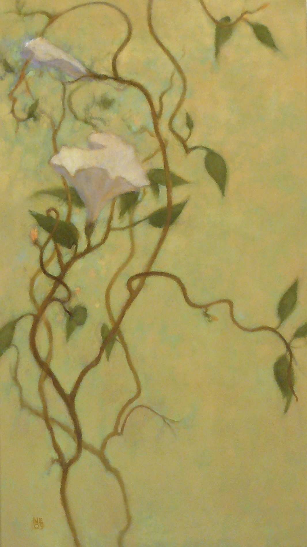 oil painting in a vertical format of vines with white flower by Nanci Erskine