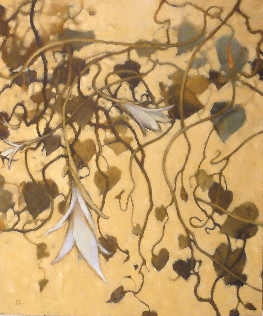 oil painting of hanging graceful brown and blue vines with white flowers by Nanci Erskine