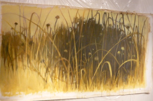 long brown horizontal painting of grasses