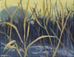 grass with stream oil painting in blues and greens by Nanci Erskine