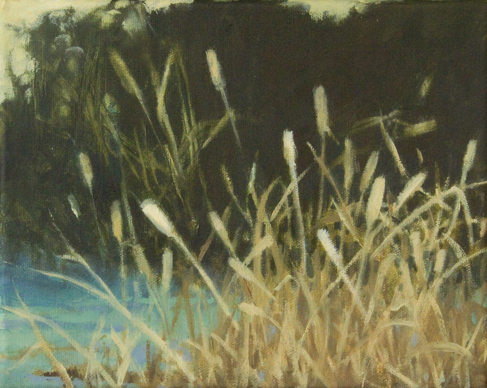 oil painting of grass and water and trees by Nanci Erskine