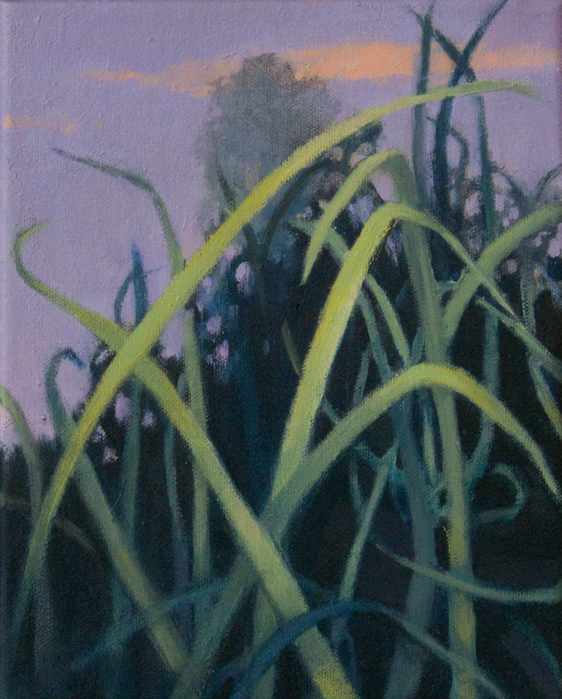 oil painting of grass in front of purple sky and tree by Nanci Erskine