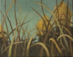 painting of brown and sienna grass in front of dark brown by Nanci Erskine
