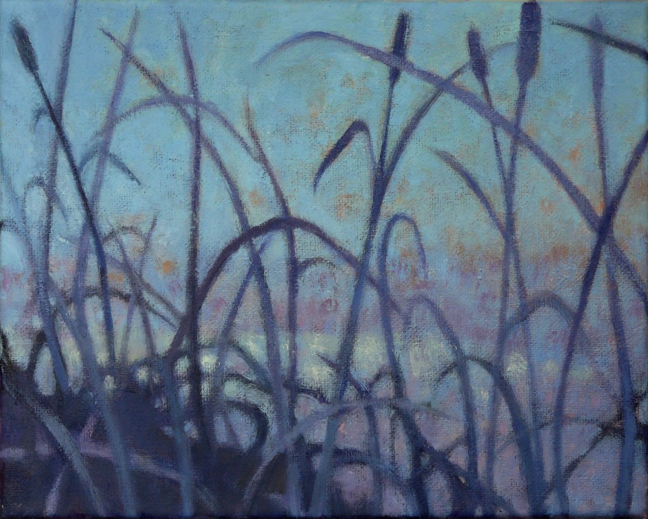 oil painting of blue grasses against violet and blue background by Nanci Erskine