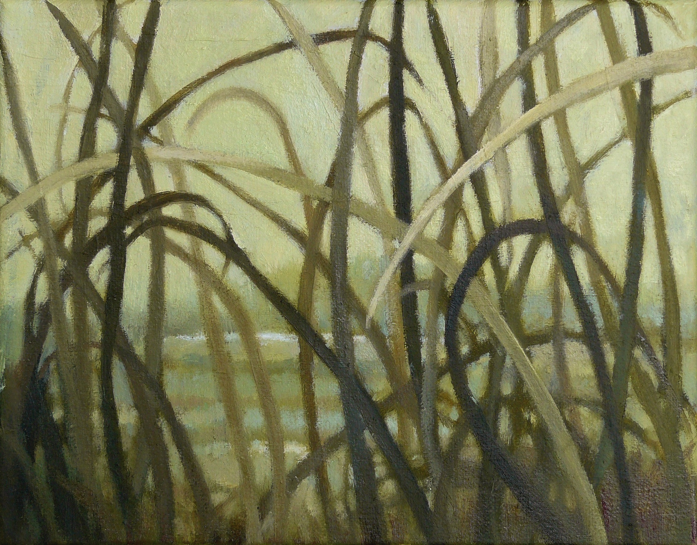 small painting of green grasses