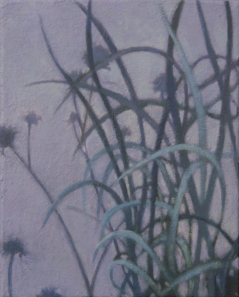 small oil painting of blue grass and violet