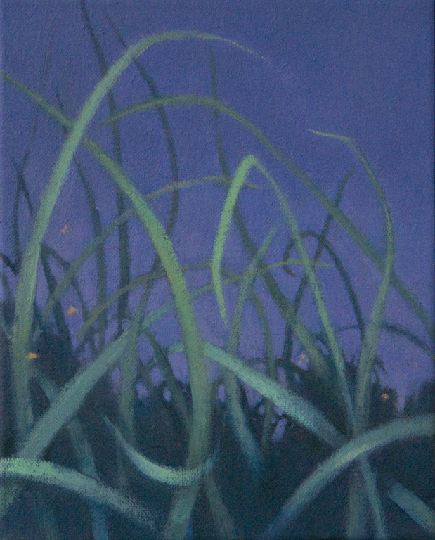 oil on canvas with dark blue sky and green grass by Nanci Erskine