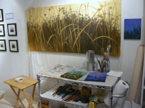 larger piece (and a few smaller ones) in progress -the plastic is usually up on the entire wall, 'cuz I paint there