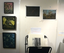 where I draw on the wall- with some more works matted ready to frame