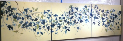 3 x 11 foot painting of vines