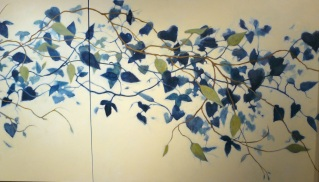 detail of 11 foot mural of blue vines