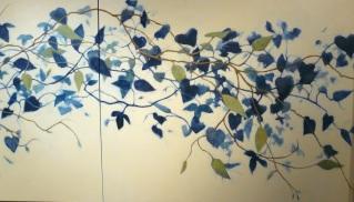 detail of 11 foot mural of blue vines