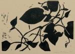 little vine linocut - 4.5 x 5