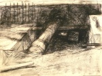 charcoal drawing of pipes under a street