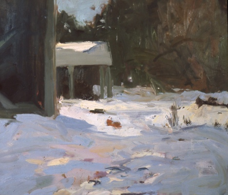 painting of woodshed in winter