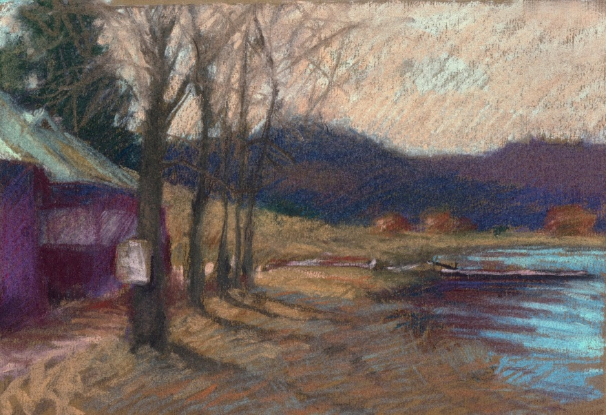 pastel drawing with cabins by a lake and mountains