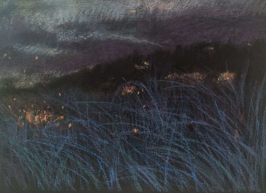 pastel drawing of forest fires at night