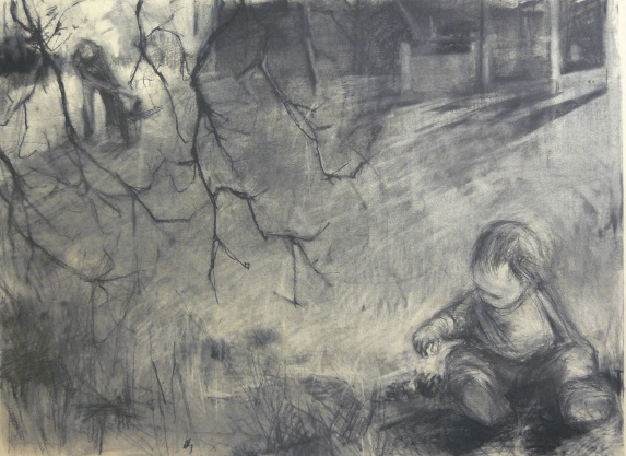 Chopping Wood - charcoal