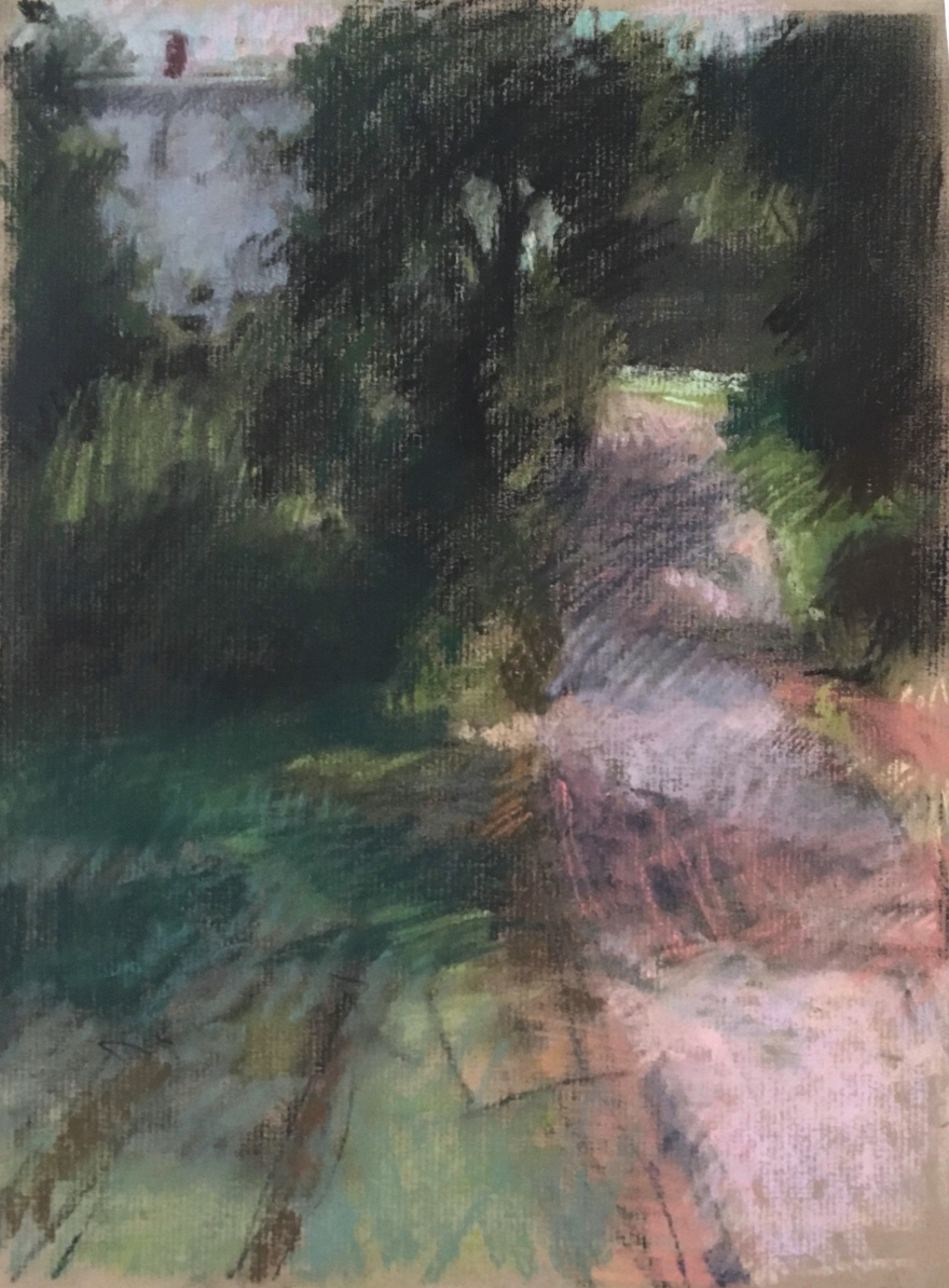 pastel drawing looking up a hill, with trees and a road