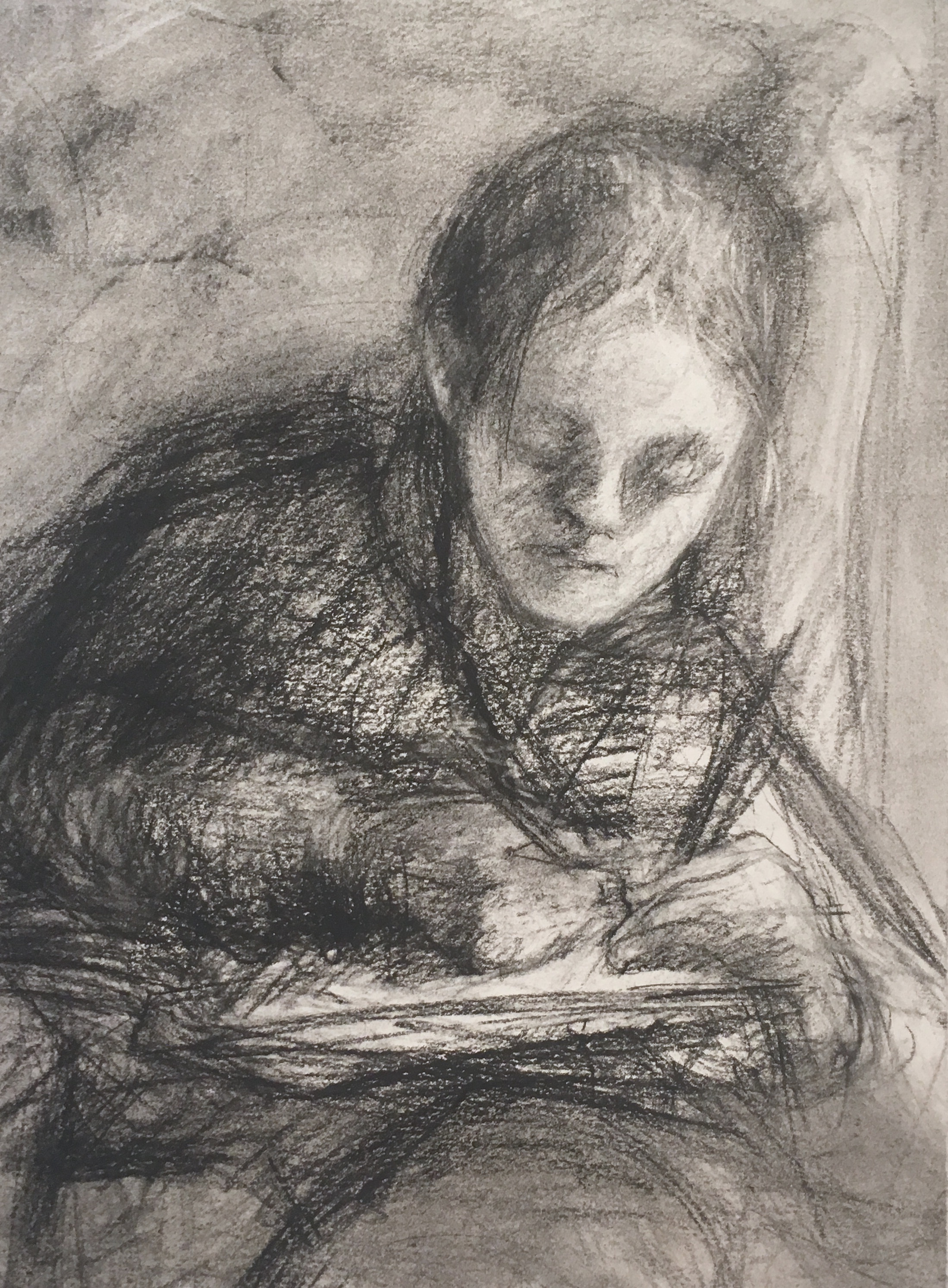 charcoal drawing of girl drawing in a chair