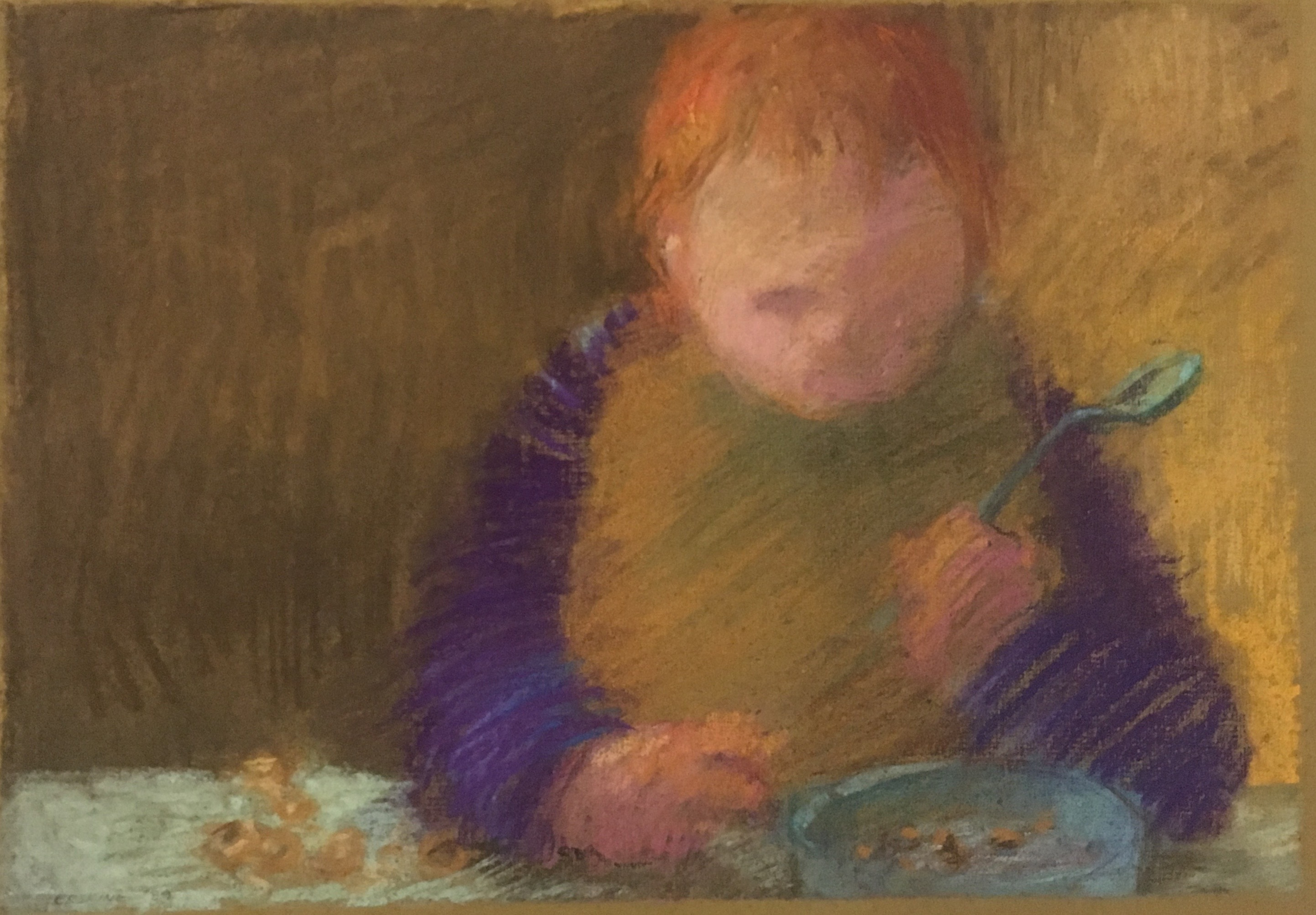 pastel drawing of child eating cheerios