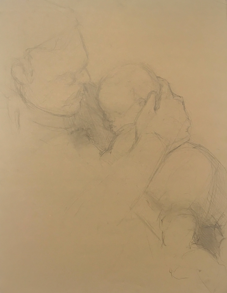 graphite drawing of dad holding a baby on brown paper