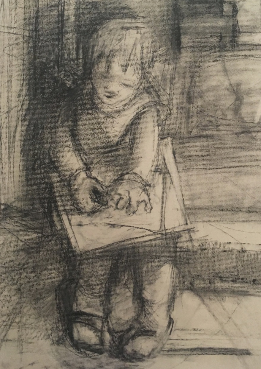 charcoal drawing on tan paper of little girl sitting on steps