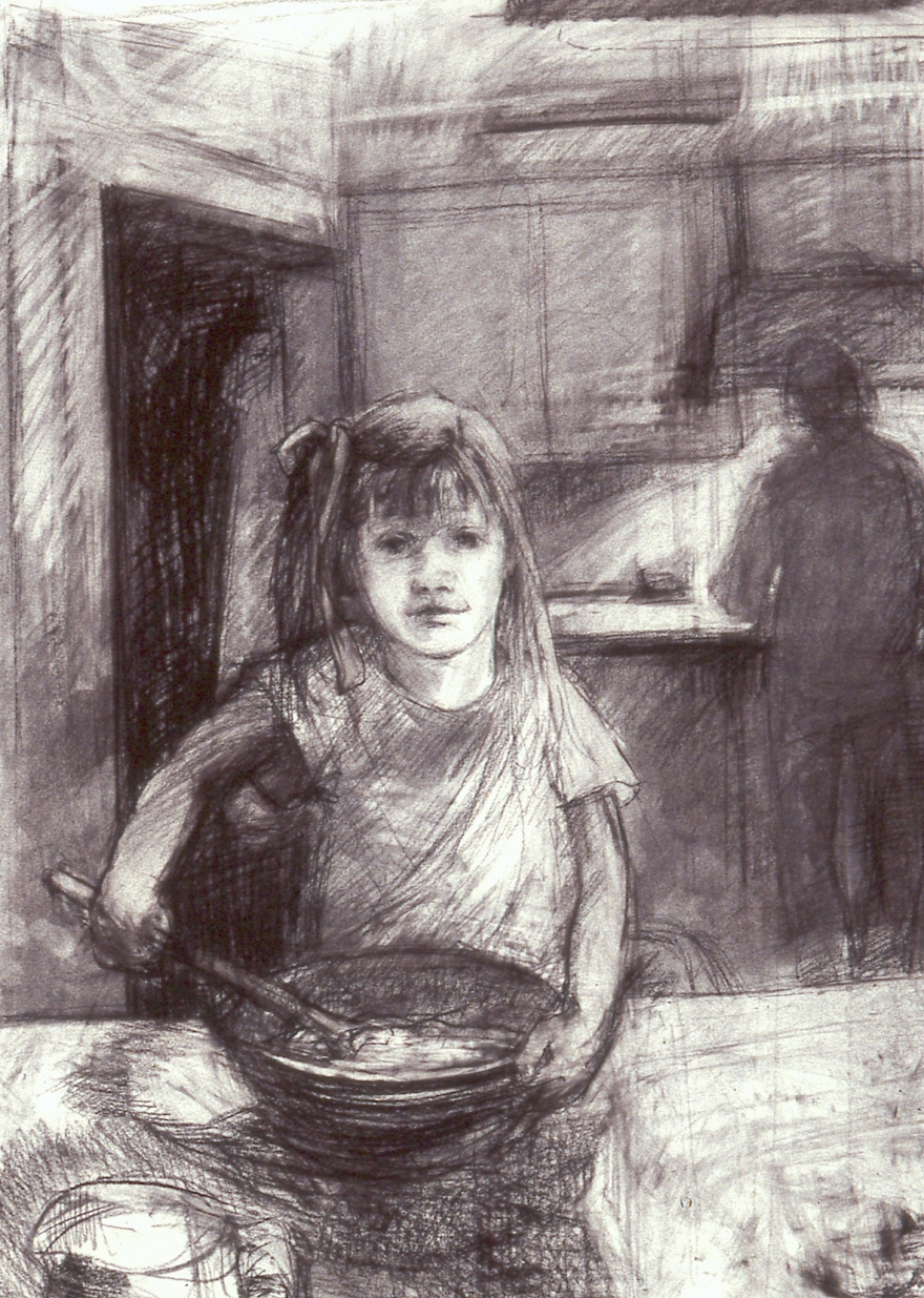 charcoal drawing of little girl in the kitchen, stirring cookie dough