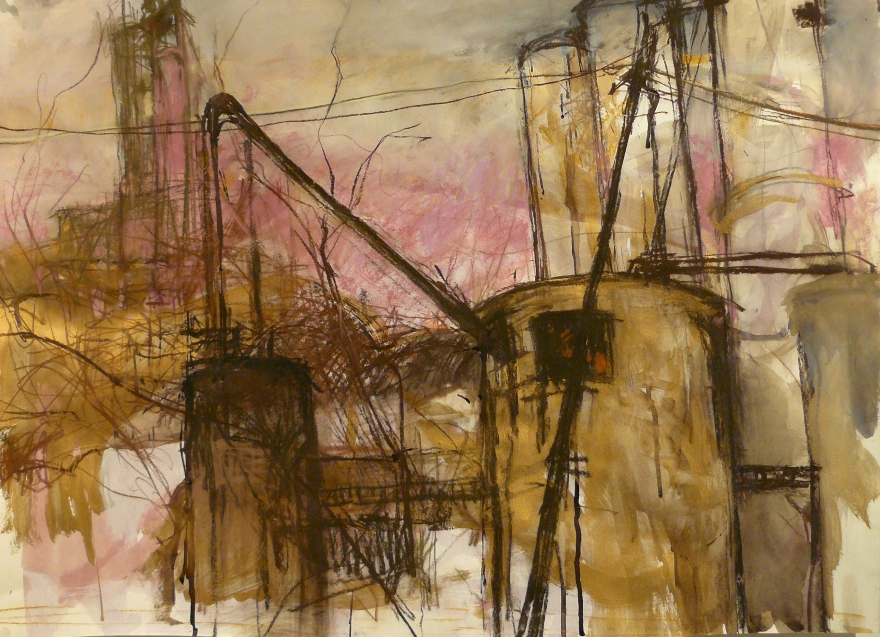 drawing of grain elevators in pastel and gold tempera paint