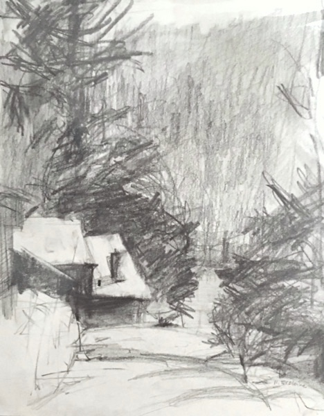 graphite drawing looking down at a house with trees and mountains in the distance