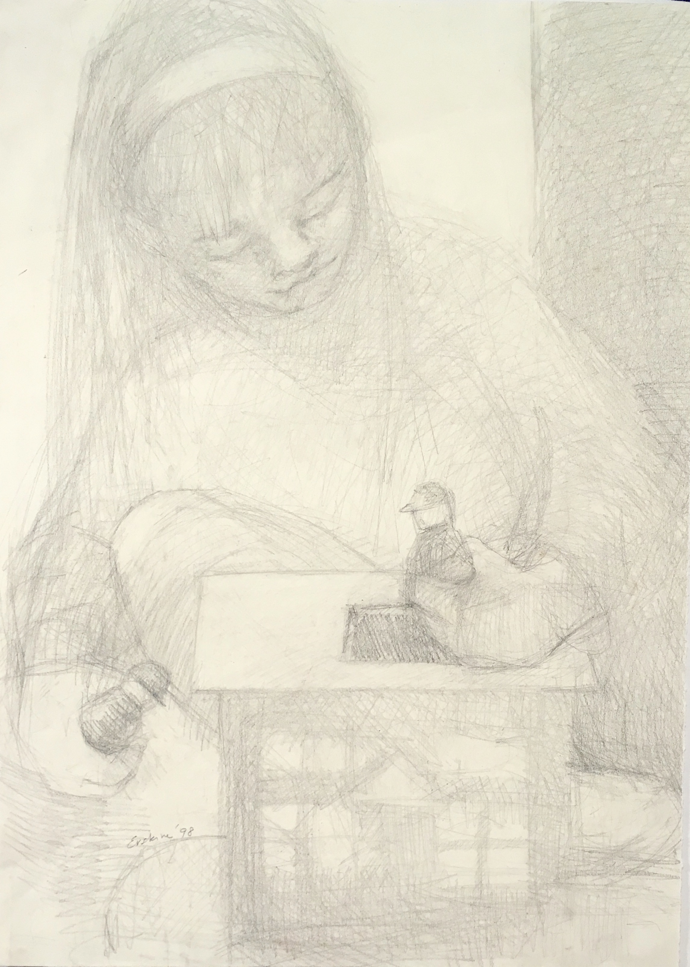 graphite drawing of girl playing with doll house