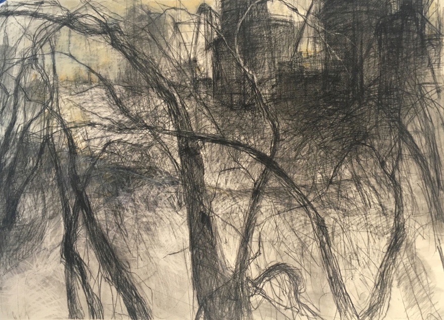 charcoal and pastel drawing of industrial elements in a landscape with trees