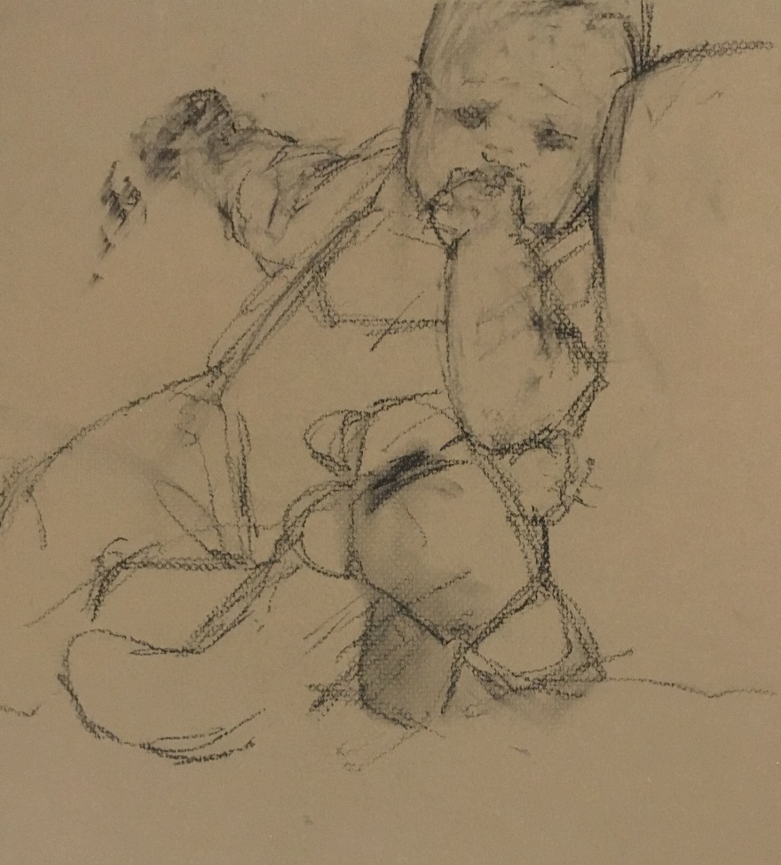charcoal drawing of baby with little teddy bear