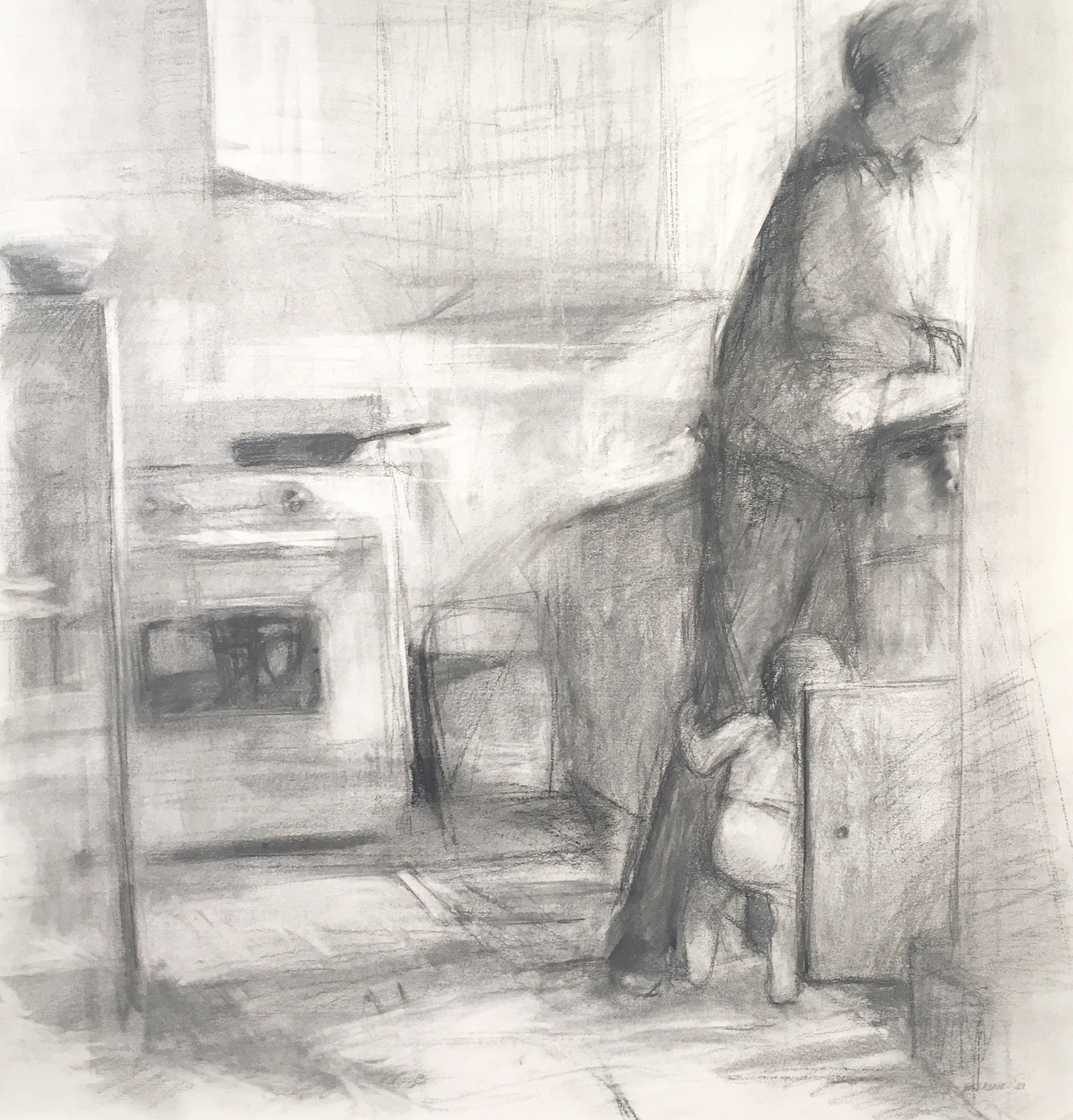 charcoal drawing of mom in the kitchen with a toddler