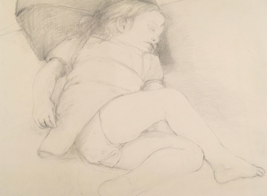 graphite drawing of sleeping child