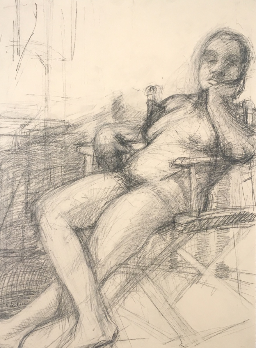 charcoal drawing of a nude pregnant model sitting in chair