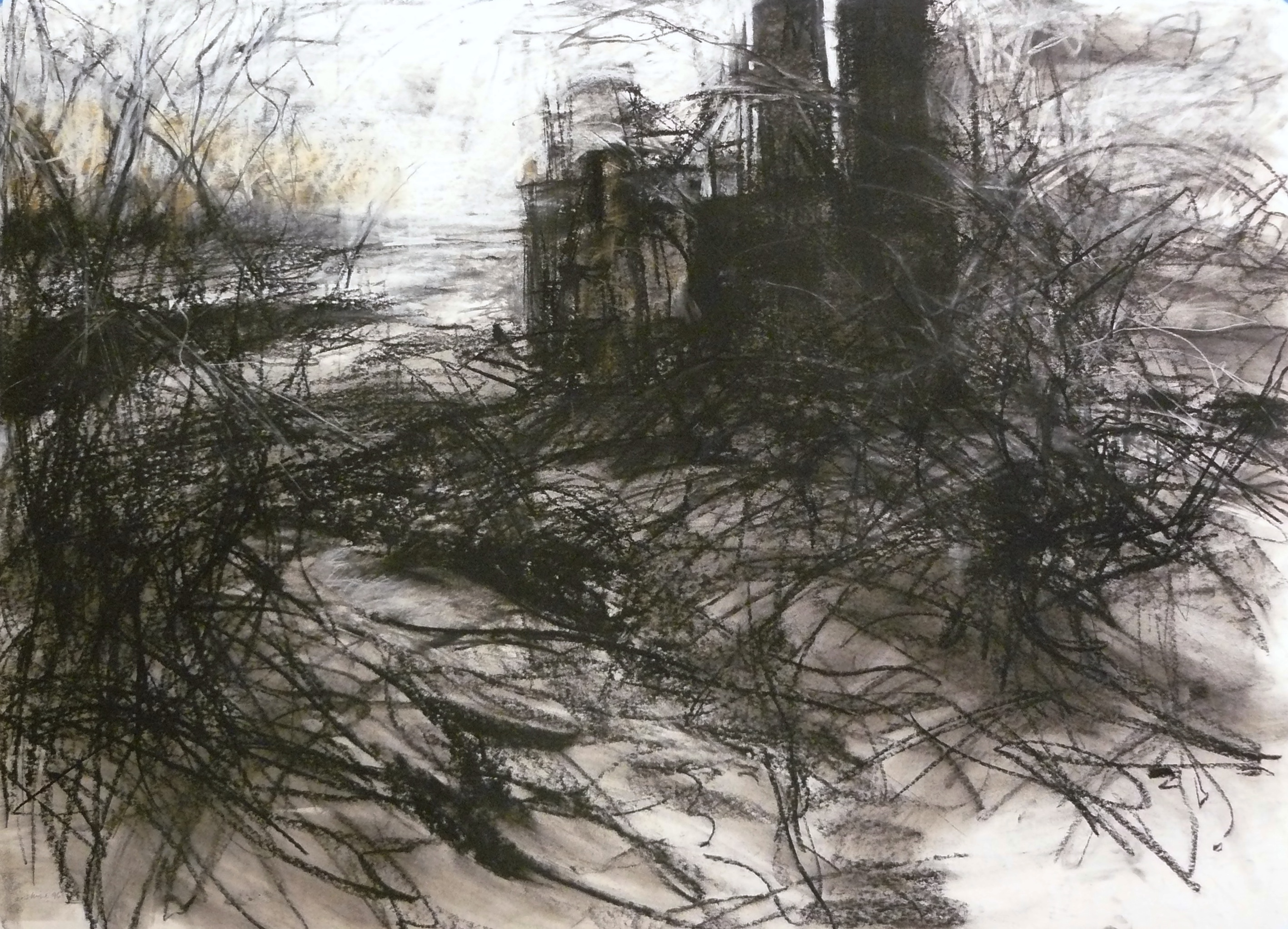 charcoal drawing of industrial site near river