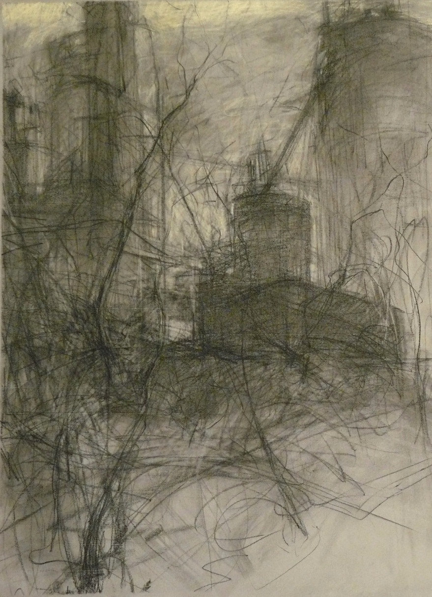 charcoal and pastel drawing of industrial buildings on grey paper