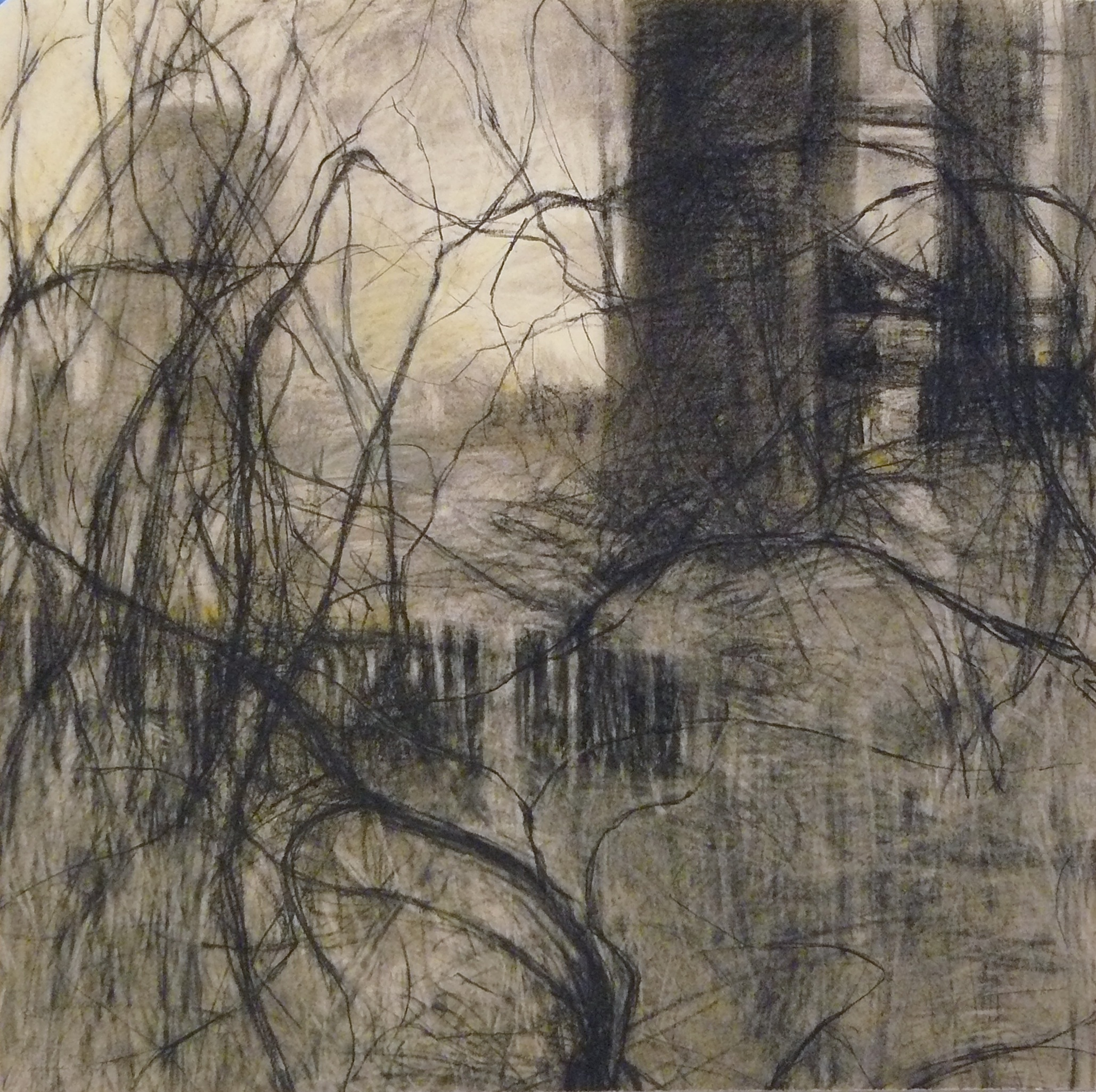 charcoal drawing of industrial building in a landscape