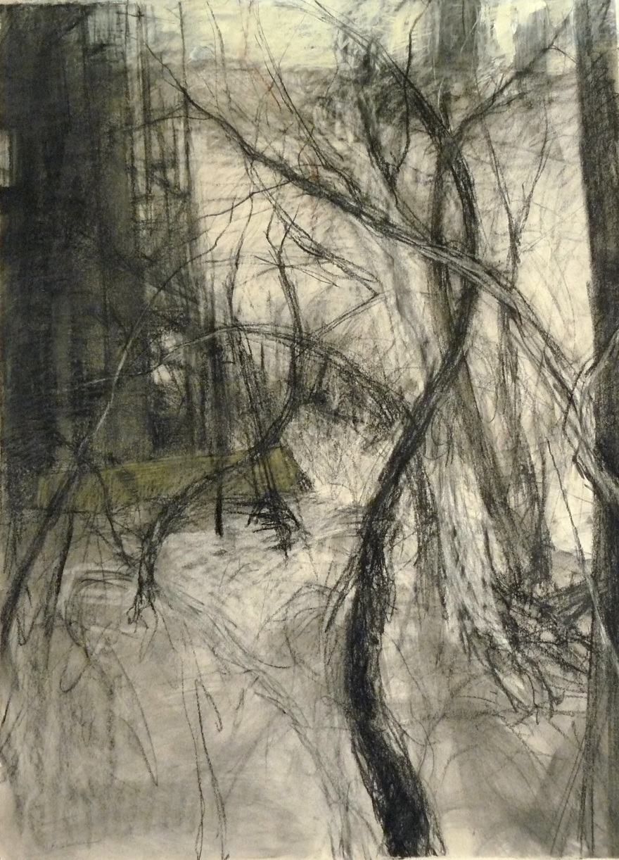 charcoal drawing of industrial buildings and trees