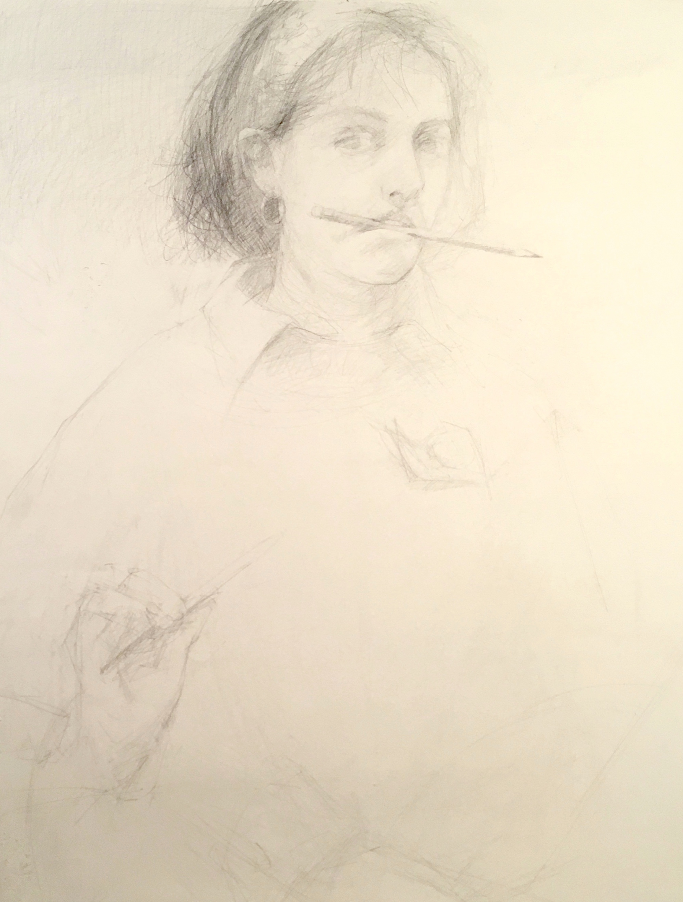 graphite self portrait of artist holding a pencil