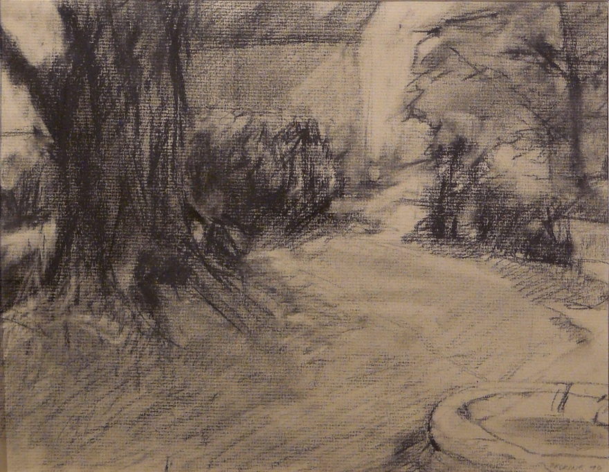charcoal drawing with small wading pool and trees in a yard
